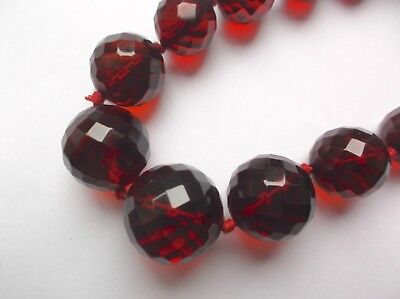7ff5fad4bfd3 Vintage Antique Art Deco Cherry Amber Bakelite Round Faceted Bead Necklace