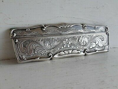 Antique American Solid Sterling Silver Art Nouveau Comb Hair Brush Case Vanity