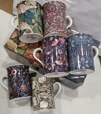 Fine China Tea Coffee Mug Stoke-On-Trent England set 6 William Morris w gift box