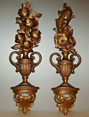 Syroco Mid Century Hollywood Regency Gold Large Flowers Vase Floral Wall Plaque