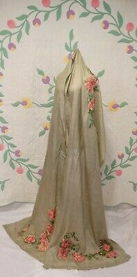 "ANTIQUE SILK SHAWL Hand Painted ROSES Pink Cabbage Long Swag  148"" x 30.5"""