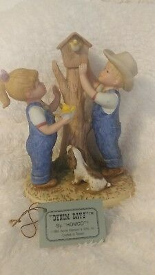 1985 HOMCO Denim Days OUR BIRDHOUSE Danny And Debbie  Figurine -#8888 with tag