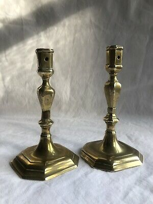 Pair 17thC / 18thC Antique Brass Candlesticks Faceted Corner Bases.