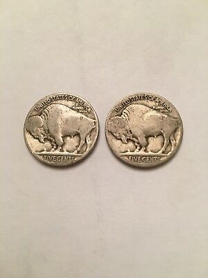 VINTAGE United States Coin Lot Of 2 Buffalo Nickels FREE SHIPPING.