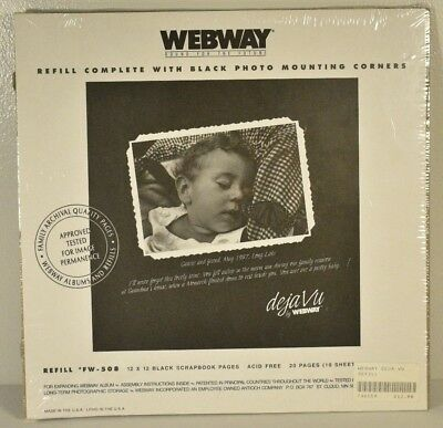 Webway FW-508 Black Scrapboook pages 20 Pages/10 Sheets acid free