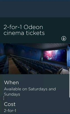 Odeon Cinema 2 For 1 Online Code Saturday 16th, Sunday 17th and Monday 18/02/19