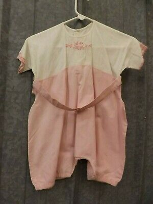 Vtg Early 1900s Pink Embroidered Shell Button Cotton Romper Pajama Undergarment