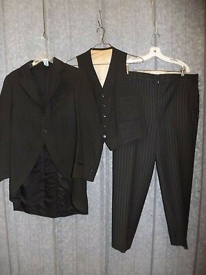 Rare Find! Vtg 1920s Kuppenheimer Handcrafted Wool Jacket w/ Tails 3 Piece Suit