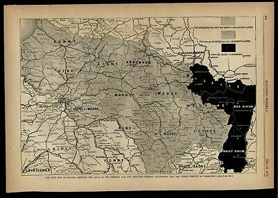 France German Occupation ceded Territory Rhine Moselle 1871 wood engraved map