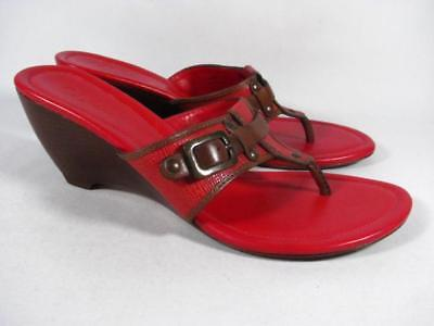 ea5d753f53fe Cole Haan T Strap Wedge Slide Sandal Women size 8.5 Red Leather