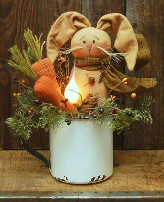 Handmade Primitive Bunny Rabbit Doll Carrots Candle Lamp