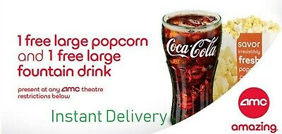 Instant E-DELIVERY. AMC Large Popcorn & Large Drink Coke - Exp 6/30/20