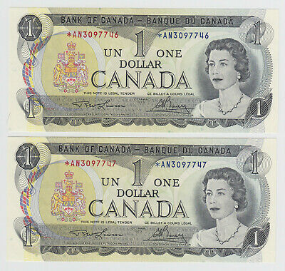 1973 Bank of Canada $1 Replacement Banknotes - Cat# BC-47aA - *AN Prefix, Unc's