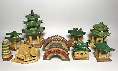 Vintage Asian Pagoda Village Glazed Pottery Miniature Figurine Temple Mini Lot