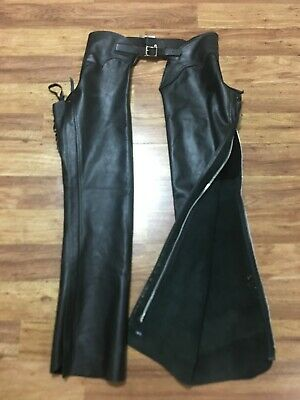 MENS XS - Vtg Gypsy Leather Motorcycle Rodeo Unlined Leather Chaps Black USA
