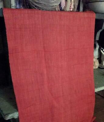 """Antique 19thc Linen Fabric Turkey Red Solid 14"""" x 17"""""""