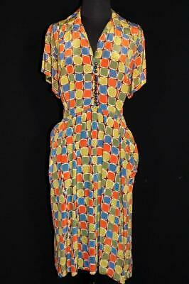 Very Rare Plus Size Vintage French 1940'S Silky Rayon Print Dress Size 18-20