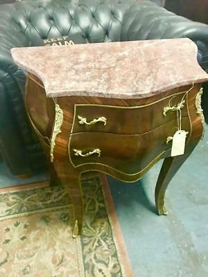 French Louis Pink Marble 2 Drawer Highly Varnished Bombe/Commode Gold Ormolus.