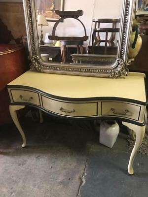 French Style Cream Painted 3 Drawer Dresser / Desk / Console On Cabriole Legs