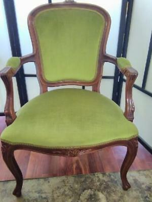 Mahogany French Louis Fauteuil Style  Carved Armchair ..Green Velvet Upholstery