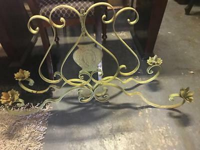 Long French Ornate Verdigris Wrought Iron 4 Branch Candle Wall/Hanging Light