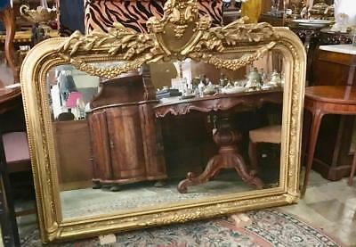 Large French Louis Gold Wall / Mantle Bevelled Arch Shaped Mirror..