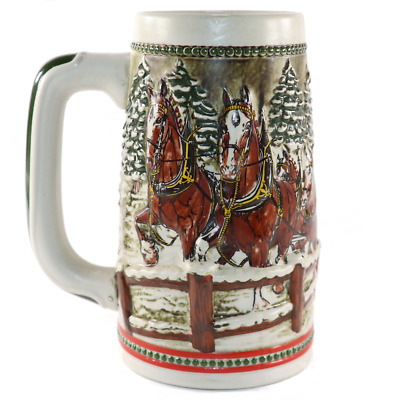"Budweiser Beer Stein 1984 ""Team & Wagon with Covered Bridge"""