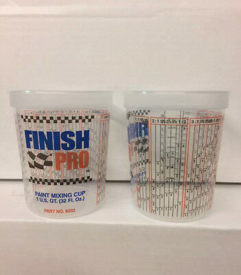 5 (1 Quart) 32oz. Paint Mix Cups - Calibrated Mixing Ratios / oz. on side of cup