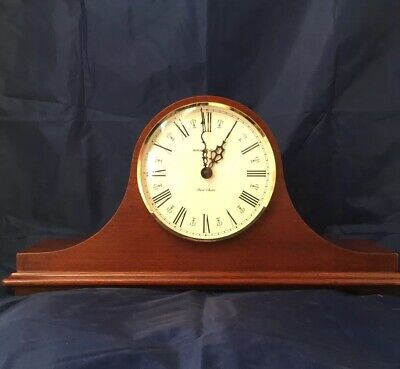 "Howard Miller Dual Chime Mantel Clock 17 1/2"" Inches Wide Wood Case 1999 Working"