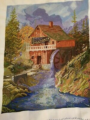 Woodland Mill Unframed Finished Needlepoint Embroidery 13 x 18 Handmade