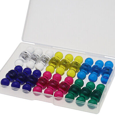 36 Plastic Assorted Color Small Magnetic Push Pins, Strong Neodymium Magnets