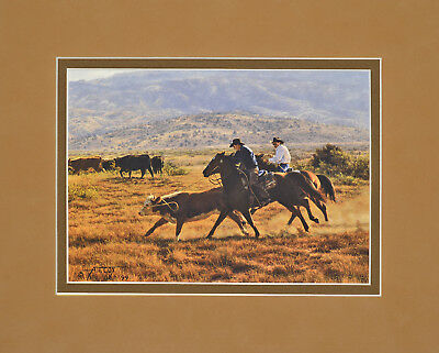 Cardoza Cowboys are Building by Tim Cox 8x10 double matted art print - horses