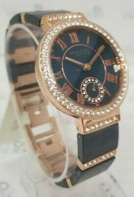 Anne Klein 12/2300NVRG Women's 33mm Rose Gold Tone/Navy Crystal Accent Watch NEW