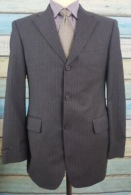 Banana Republic 38S Black Mens Striped Wool/Cashmere Blend Modern Fit Mens Suit