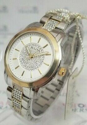 Bulova 98L236 Women's 34mm Crystal Accented Two-Tone Quartz S/Steel Watch *NWT*