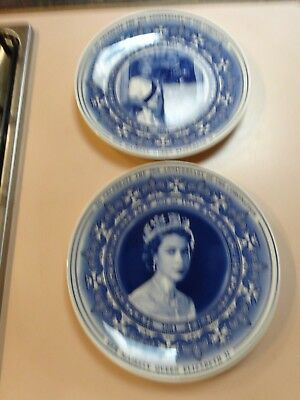 50th Anniversary of the Coronation.Pair of collector plates(boxed).Wedgwood.