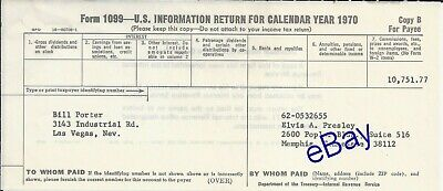 Elvis Presley Bill Porter Personal Owned 1099 Tax Form 1970