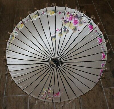 Vintage Painted Silk and Wood Parasol in Excellent Condition