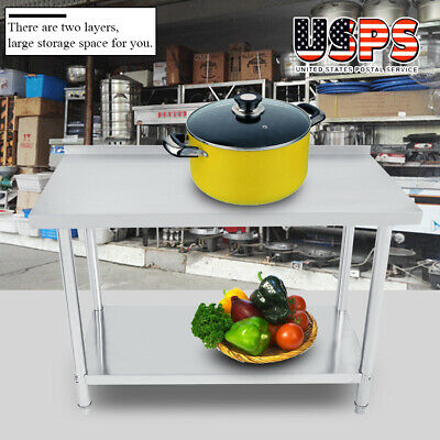 "New Work Table Stainless Steel Food Prep Commercial Kitchen Restaurant 24"" x 48"""