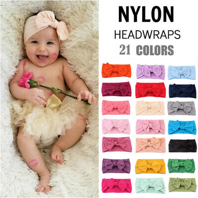 Baby Girls Wide Nylon Bow Headband Knot Head Wraps One Size Fits Most 21 Color N