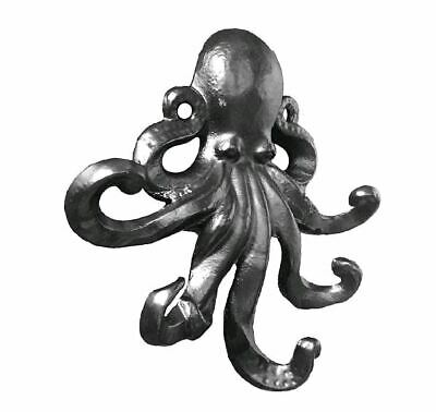 BLACK CAST IRON OCTOPUS - HAT & COAT WALL HOOK OR KEY HOLDER - 158x154x35mm