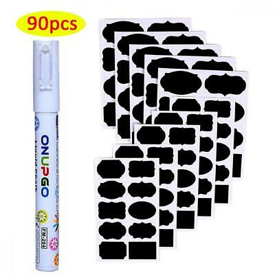 ONUPGO Chalkboard Labels - 90 Premium Reusable Stickers with 3MM White Chalk...