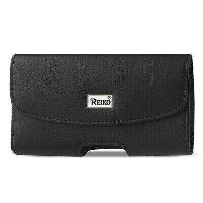 Reiko Horizontal Leather Pouch With Embossed Logo In Black (6.4X3.5X0.7 Inches)