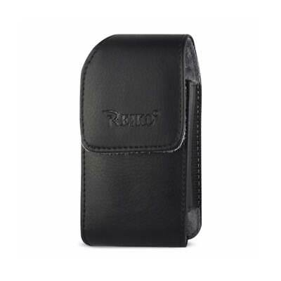 "Leather Vertical Pouch Embossed Reiko Logo & Simple Design 4.4""X2.3""X0.9"" Black"