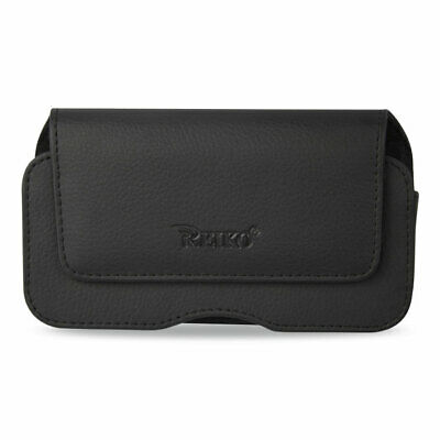 "Horizontal Leather Pouch Hidden Magnetic Clasp Embossed Logo 6.4X3.5X0.7"" Black"