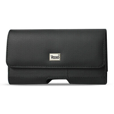 Reiko Horizontal Leather Pouch With Card Holder In Black (7.0X3.9X0.7 Inches)