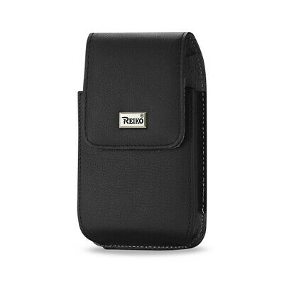 Reiko Leather Vertical Pouch With Metal Logo In Black (6.6X3.5X0.7 Inches)