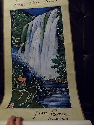 Hand Crafted Batik Textile Waterfall Asian  Signed Bruce 2002 Scroll ArJim Serna