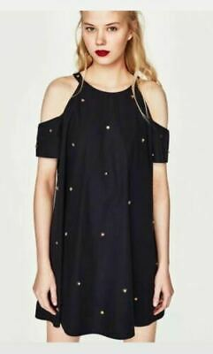 41470de2424fb8 ZARA TRAFALUC NAVY Beaded Cold Shoulder Dress S NWT -  19.50