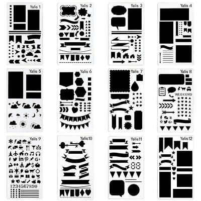 Yalis 12 Pcs Journal Stencil Plastic Planner Set for...